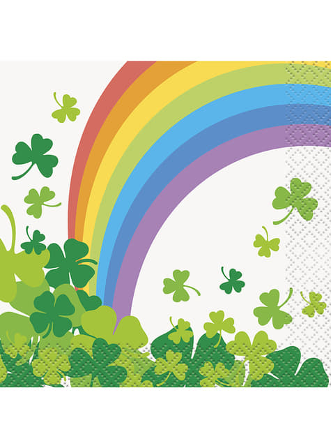 Set of 16 clover and rainbows snack napkins