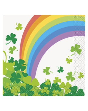 16 clover and rainbows snack napkins (13x13 cm)
