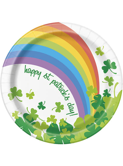 8 platos pequeños Happy St Patrick's Day con arcoíris (18 cm)