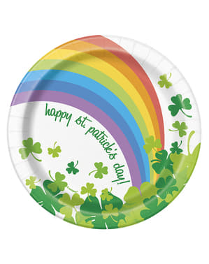 8 pratos de sobremesa Happy St Patrick's Day com arco-íris (18 cm)