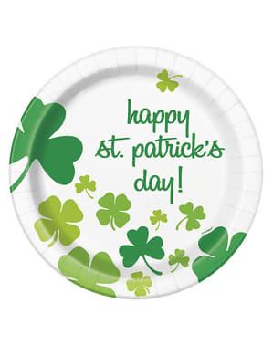 8 tallrikar med fyrklövers Happy St Patrick's Day (23 cm)