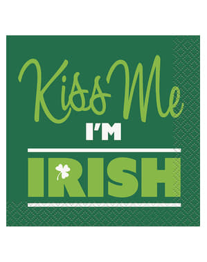 Set of 16 Kiss me I'm Irish snack napkins