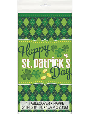 Happy St Patrick's Day checkered green tablecloth