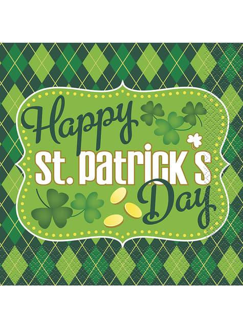 16 Serviettes en papier à carreaux verts Happy St Patrick's Day
