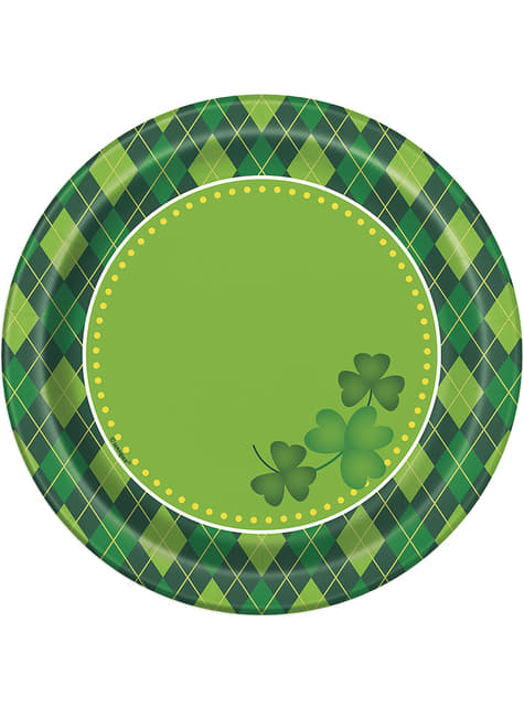 Set of 8 checkered green Happy St Patrick's Day dessert plates