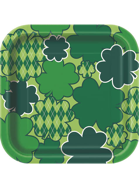 Set of 8 checkered green Happy St Patrick's Day square dessert plates