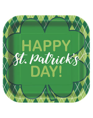 8 zielone kwadratowe talerze w kratkę Happy St Patrick's Day