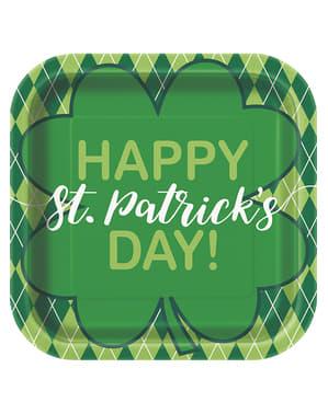8 fyrkantiga tallrikar med gröna fyrkanter Happy St Patrick's Day (23 cm)