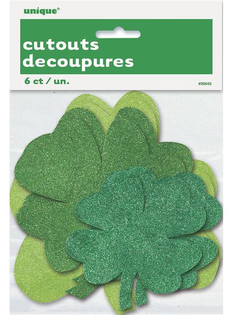 6 décorations trèfles de Saint Patrick à paillettes