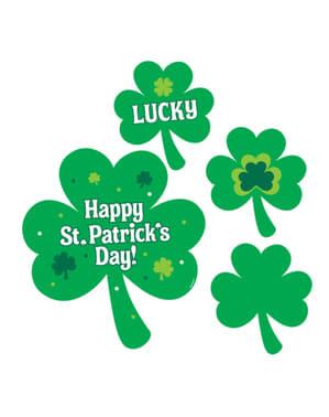 4 dekorationer med fyrklövers St Patrick's Day