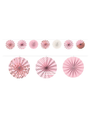Garland of decorative paper fans in pink tones