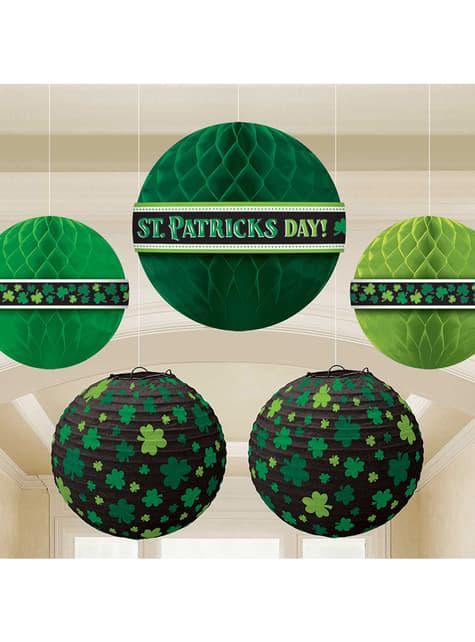 5 esferas de papel de San Patricio