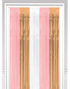Rideau à franges métallique rose gold, blanc et rose