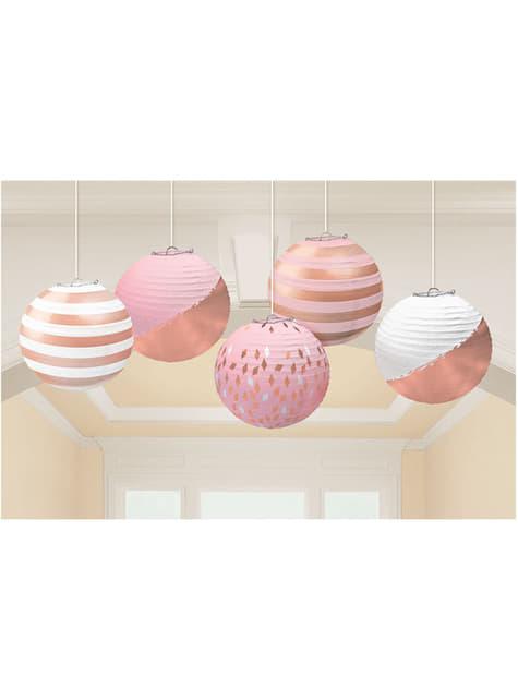 5 esferas de estampados variados en oro rosa