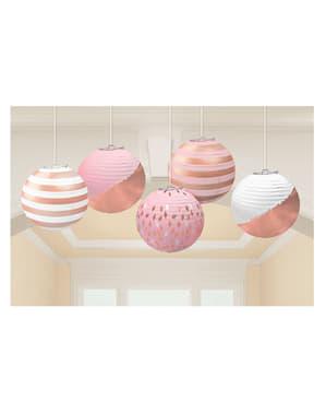 5 sfere con stampe diverse in oro rosa