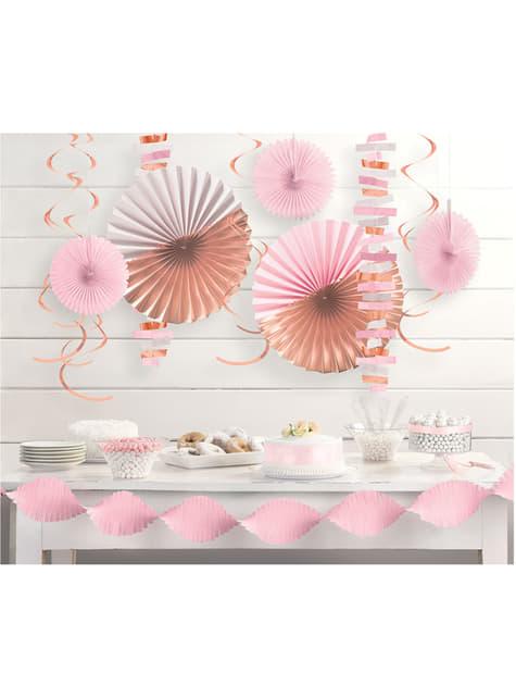 Conjunto de decoração de papel rosa pastel