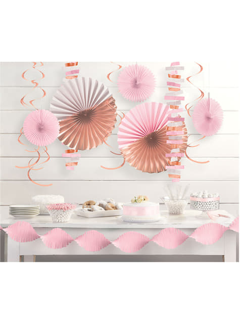 Paper decoration set in pastel pink