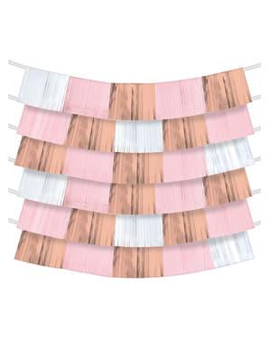 9 guirnaldas de flecos en tonos rosas