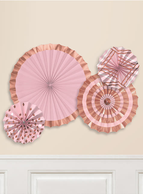 Set of 4 decorative paper fans with varied rose gold patterns