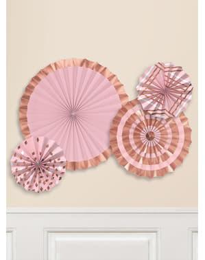 4 decoratieve waaiers met gevarieerd roze gouden patronen (40-30-20 cm)