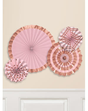 4 decorative paper fans with varied rose gold patterns (40-30-20 cm)