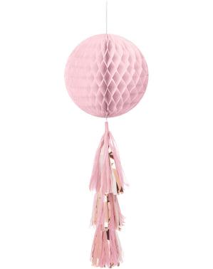 Pinkki kennopaperinen riippuva somiste ja tupsuja