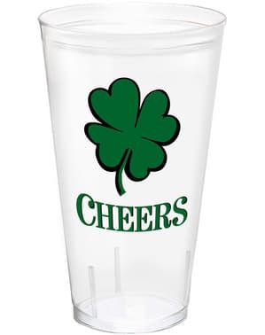 Pahar de plastic reutilizabil cu trifoi de St. Patrick