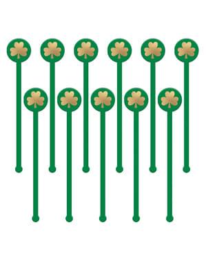 18 mélangeurs à boissons avec trèfle Saint Patrick