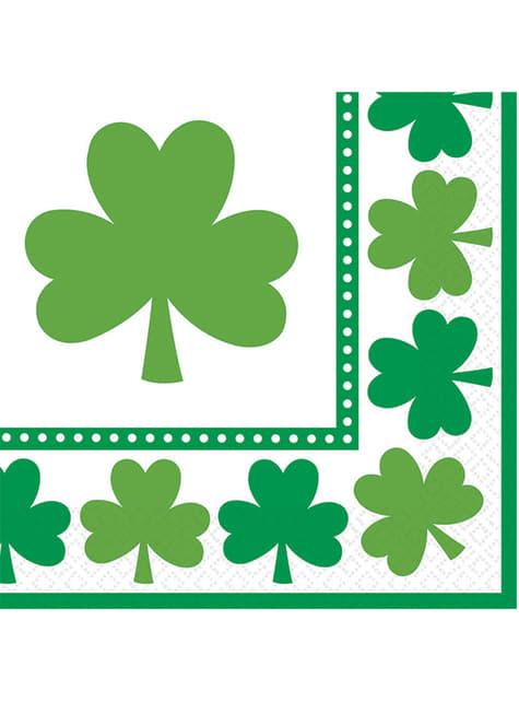 16 St Patrick's clover napkins (33x33 cm)