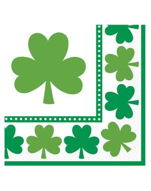 Sett med 16 St Patrick's kløver servietter