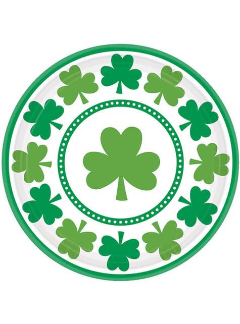 8 St Patrick's clover dessert plates (17,7 cm)