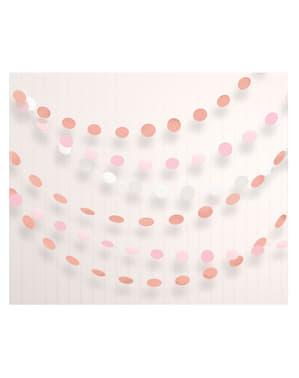 Sett med 6 polka prikker girlander i forskjellig rosegull farger