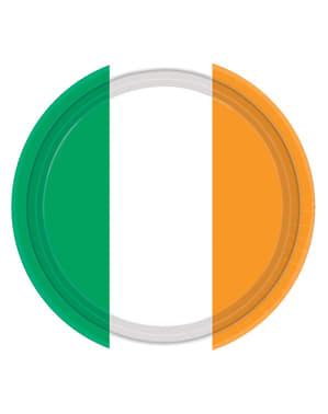 8 tallrikar med Irländska flaggan (22,8 cm)