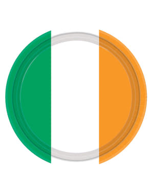 Set of 8 Irish flag plates