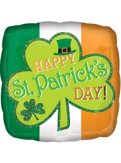 Happy St Patrick's Day foil balloon with glitter