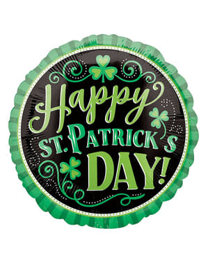 Globo de foil Happy St Patrick's Day con purpurina