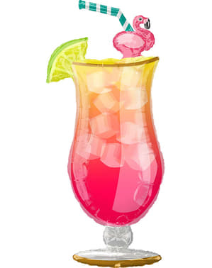 Hawaiian cocktail with flamingo foil balloon