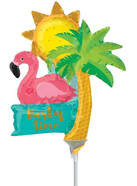 Flamingo, lófa tré og sól lítill blaðra blaðra