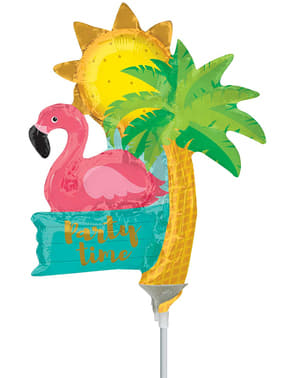 Flamingo, palmetre og sol mini folie ballong