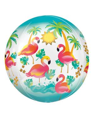Balão de foil esférico de flamingos havaianos