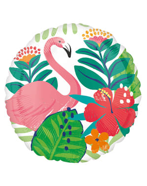 Round Hawaiian flamingo foil balloon