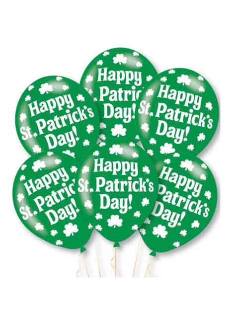 6 globos de látex verdes Happy St Patrick's Day (27,5 cm)