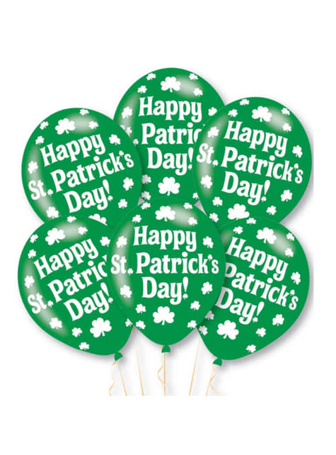 6 green latex Happy St Patrick's Day balloons (27,5 cm)