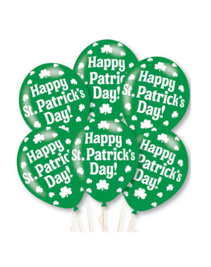 6 green latex Happy St Patrick's Day balloons (27,5 cm)