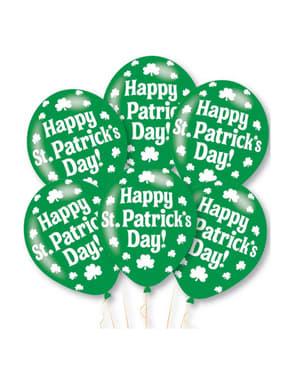 Sett med 6 grønne latex Happy St Patrick's Day ballonger
