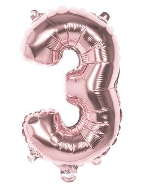 Balonek růžové zlato o rozměru 36 cm s číslem 3