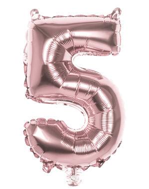 Rosaguld ballon nummer 5 der måler 36cm