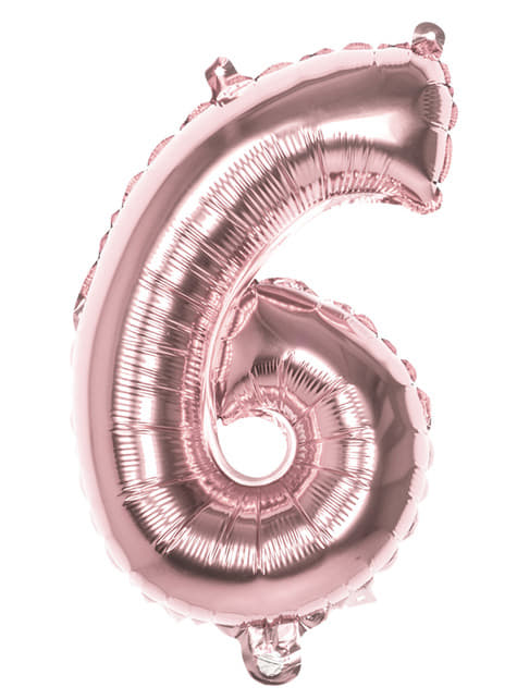 Rose gold balloon number 6 measuring 36cm