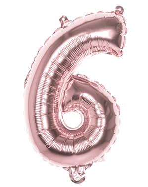 Balonek růžové zlato o rozměru 36 cm s číslem 6
