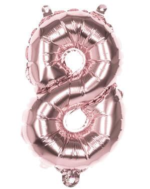 Rosaguld ballon nummer 8 der måler 36cm